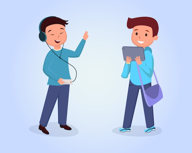 Amigos adolescentes que se encuentran con la ilustración plana. compañeros de clase aislados clipart en azul