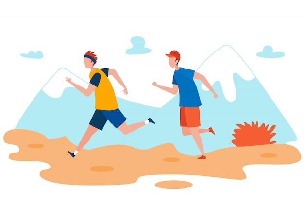 Amigos al aire libre para correr plano