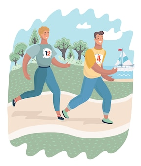 Amigos de la alegre pareja corriendo en el parque