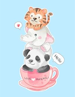 Amigos de animales lindos en la ilustración de la taza de café
