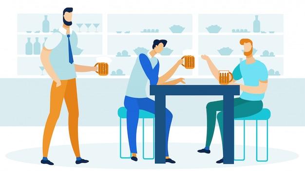 Amigos bebiendo cerveza plana