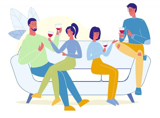 Amigos bebiendo vino tinto plano