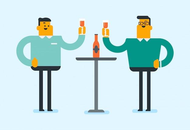 Amigos blancos caucásicos golpeando copas de vino.