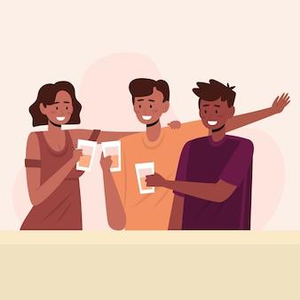 Amigos brindando juntos ilustración