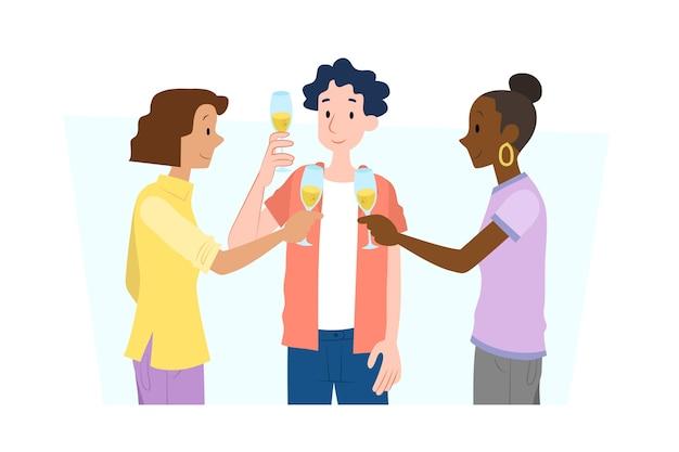 Amigos brindando juntos