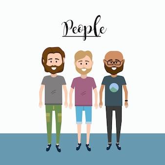 Amigos buenos hombres con diseño de ropa