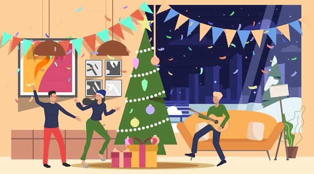Amigos celebrando el año nuevo en la página web de inicio