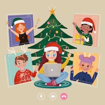 Amigos celebrando la navidad online