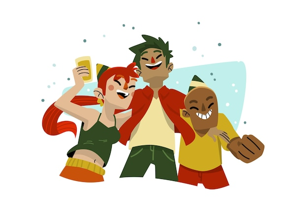 Amigos cercanos celebrando juntos