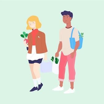 Amigos comprando productos de supermercados