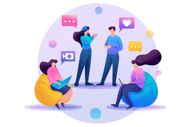 Los amigos se corresponden en línea, chatean, comparten noticias e impresiones, amistad.