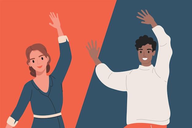 Amigos dando la bienvenida a alguien, diseño de ilustraciones