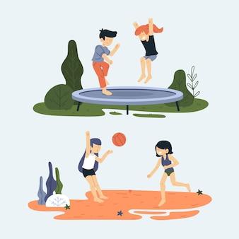 Amigos en diferentes escenas haciendo actividades de verano al aire libre.