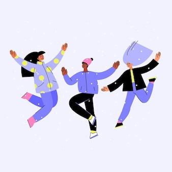 Amigos de diseño dibujado a mano saltando