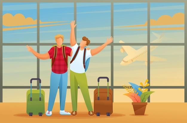 Los amigos disfrutan de la oportunidad de viajar, los hombres en el aeropuerto.