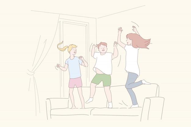 Amigos divirtiéndose en casa ilustración