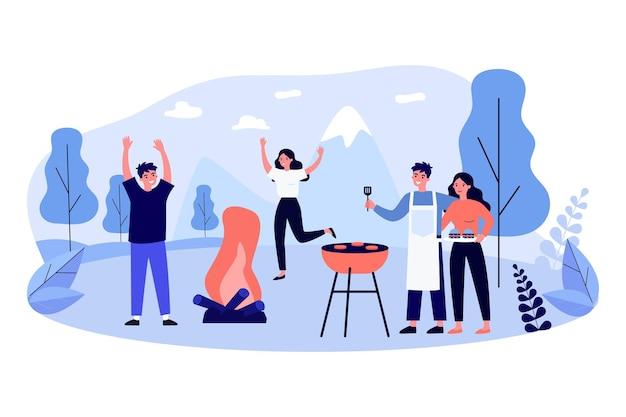 Amigos divirtiéndose en la fiesta de barbacoa. gente asando carne, bailando en el fuego al aire libre. ilustración vectorial plana