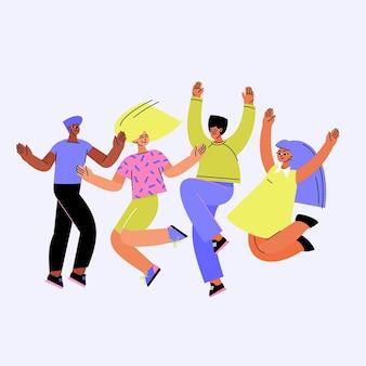 Amigos de estilo dibujado a mano saltando