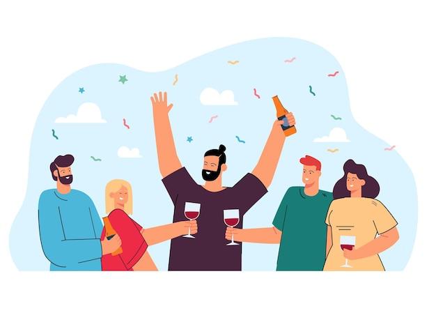 Amigos felices bebiendo vino o cerveza juntos ilustración plana