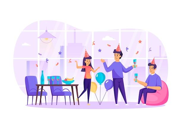 Amigos felices celebran las vacaciones en el concepto de diseño plano de fiesta con escena de personajes de personas