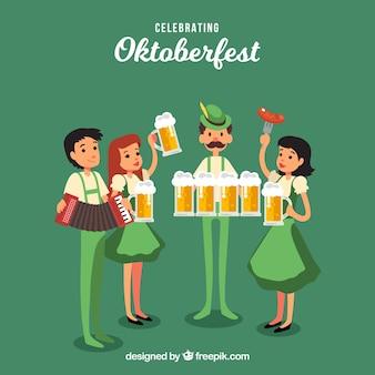 Amigos felices celebrando el oktoberfest