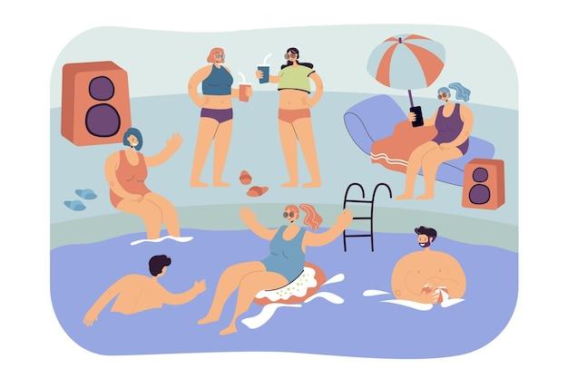 Amigos felices pasar tiempo libre en la piscina de vacaciones