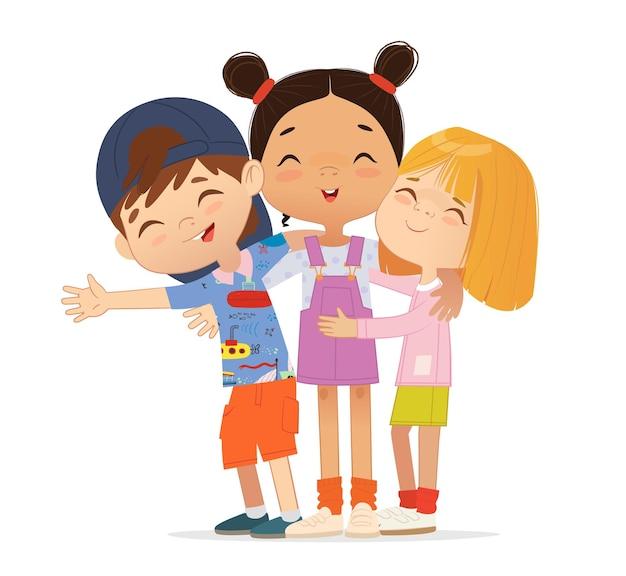 Amigos felices de varios años se abrazan. niños y niñas de la escuela abrazándose.