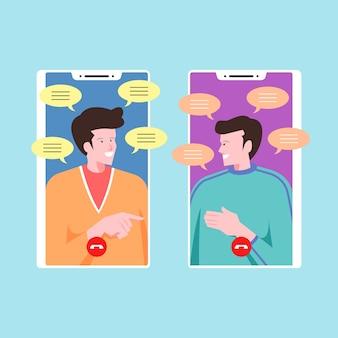 Amigos hablando y chateando en videollamadas