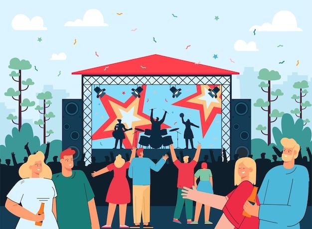 Amigos en ilustración plana de concierto de música rock al aire libre