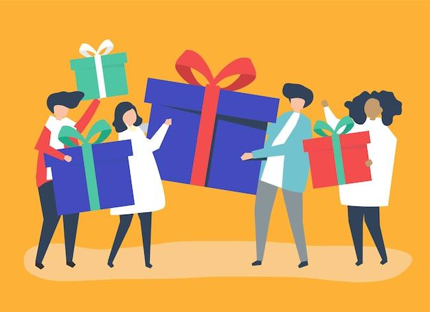 Amigos intercambiando cajas de regalos entre ellos.