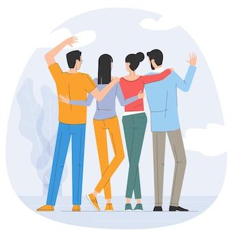Amigos jovenes felices juntos. concepto de vector de amistad de diseño plano.