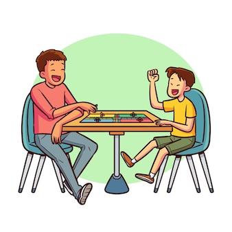 Amigos jugando al juego de ludo en la mesa