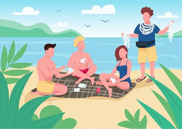 Amigos jugando a las cartas en la ilustración de color de playa.