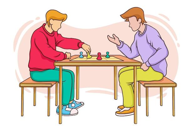 Amigos jugando juego de ludo