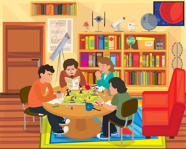 Amigos jugando un juego de mesa.