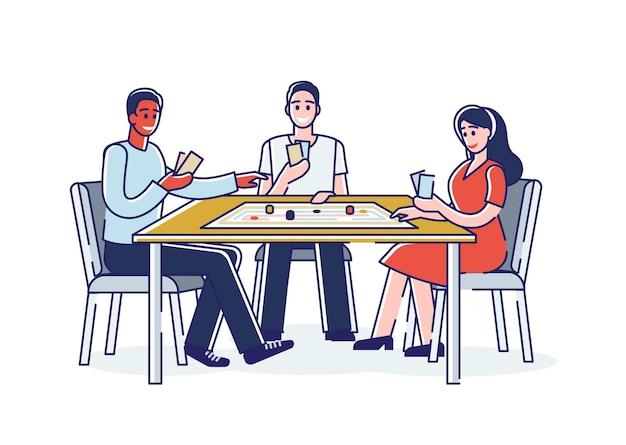 Amigos jugando juegos de mesa