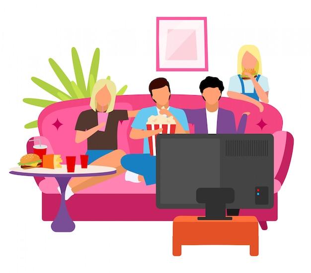 Amigos juntos viendo la película ilustración plana. chicos y chicas que pasan tiempo, por la noche en casa con personajes de dibujos animados de televisión. los estudiantes miran películas. la mejor compañía de amigos sentados en el sofá, comiendo bocadillos