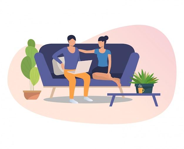 Amigos con laptop reunidos en casa