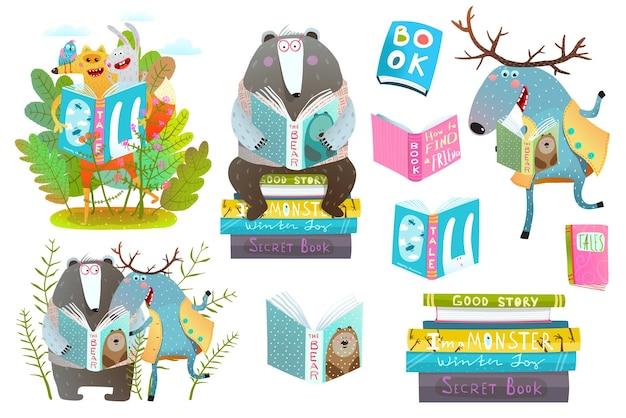 Amigos lindos de los animales del bosque con libros estudiando.