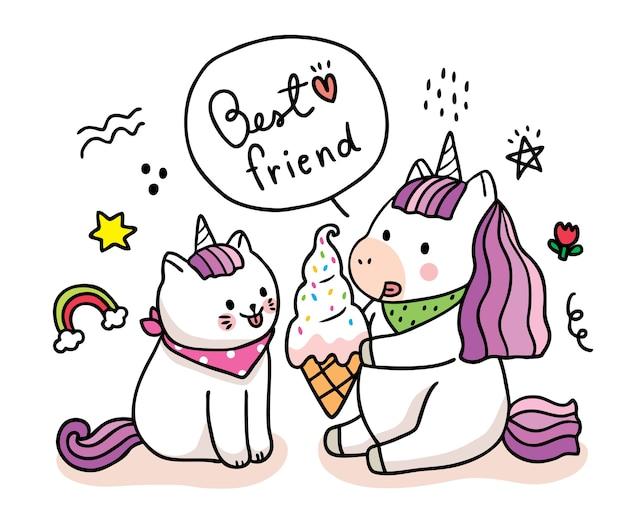 Amigos lindos de dibujos animados, unicornio compartiendo helado gato.