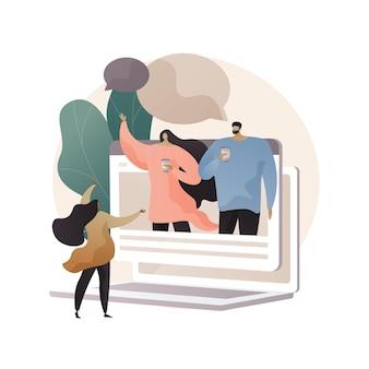 Amigos en línea que se encuentran con la ilustración del concepto abstracto