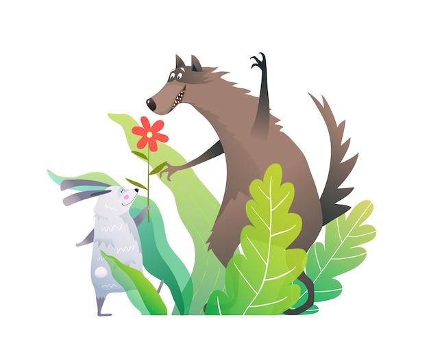 Amigos de lobo y conejo con flor en las hojas del bosque verde.