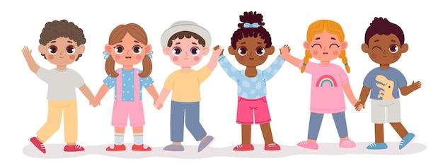 Amigos de niños multiculturales de jardín de infantes de dibujos animados se dan la mano. grupo diverso de niños felices. concepto de vector de personajes de niño y niña multirracial. niños en edad preescolar alegres divirtiéndose juntos