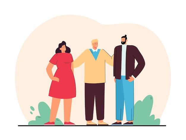 Amigos o colegas de pie juntos. personajes masculinos y femeninos abrazándose y hablando ilustración plana