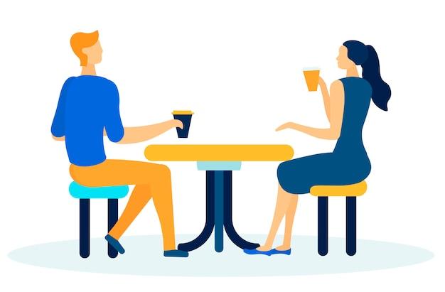 Amigos o compañeros de trabajo que tienen dibujos animados de coffee break