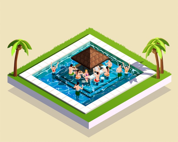 Amigos en el parque acuático ilustración isométrica