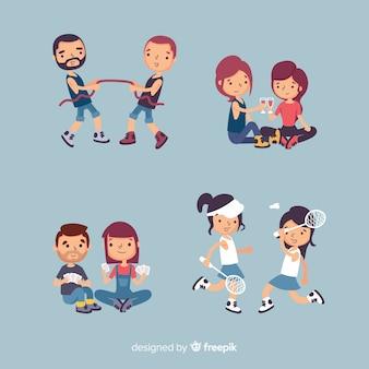 Amigos pasando tiempo juntos diseño plano