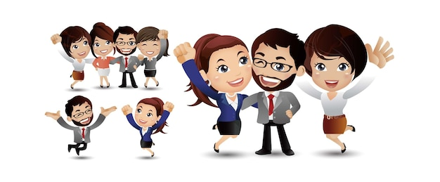 Amigos personajes conjunto vector amigos riendo colegas oficina
