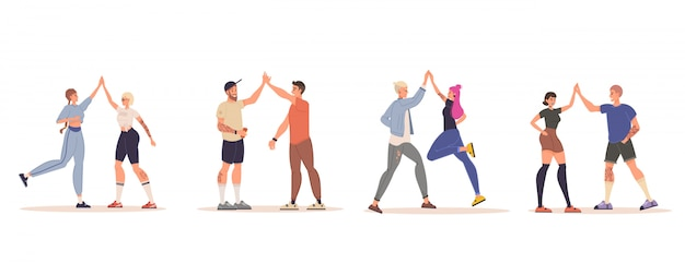 Amigos de personas felices dando cinco alta conjunto aislado