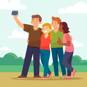 Amigos planos tomando selfie con teléfono